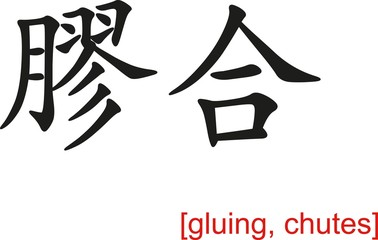 Chinese Sign for gluing, chutes