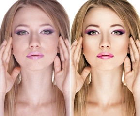 beauty concept before and after contrast, retouch of portrait