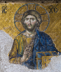 Byzantine mosaic in the interior of Hagia Sophia in Istanbul, Tu