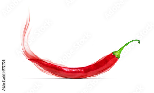 Red chili pepper with a red smoke, isolated on white