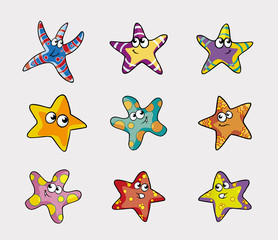 Collection of Colored Stars Vector