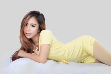 Asian beauty, portrait isolated on white bed
