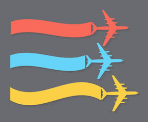 Retro Airplane Banner. Vector Illustration.