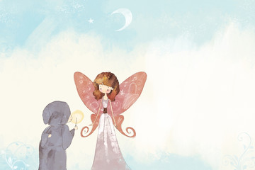 Butterfly Girl and Elder in Gown
