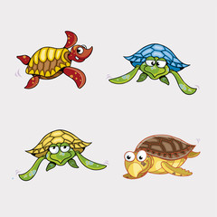 Colorful Turtles Cartoon Vector