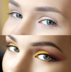 before and after make-up eyes