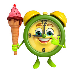 Table clock character with icecream