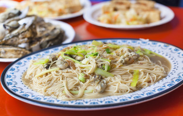 chinese and Taiwan traditional famous food - oyster thin noodle
