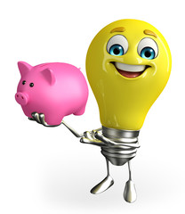 Light Bulb Character with piggy bank