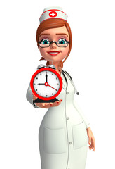 Young Nurse with table clock