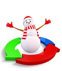 Snowman character with graph diagram