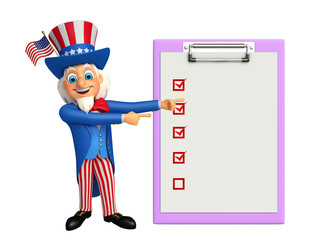 Uncle Sam with notepad