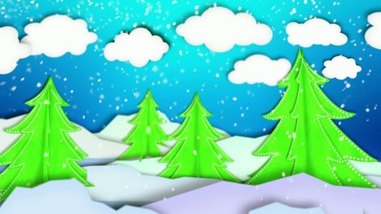 Winter Trees Landscape Paper Scene Loop Animation