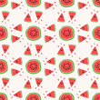Seamless pattern of color hand drawn watermelons