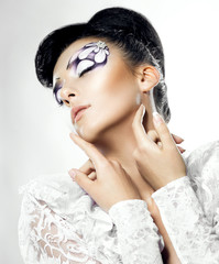 Fashion portrait of model with bright make up. Modern bride.