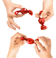 Set of hands holding red candies in different ways