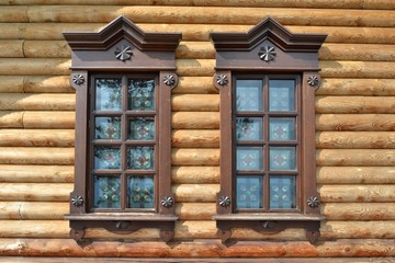The window in the wooden house