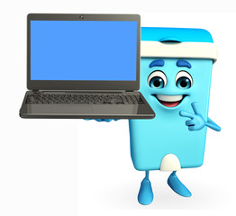 Dustbin Character with laptop