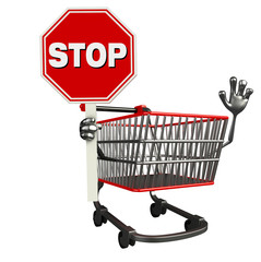 The trolly charecter with stop sign