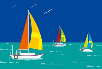 ヨットとカモメと夏の海