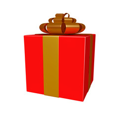 Red gift box with goldan ribbon