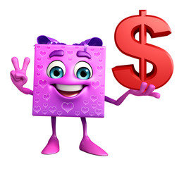 Gift Box Character with dollar sign