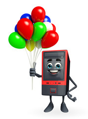 Computer Cabinet Character with balloon