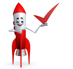 Rocket character with right sign