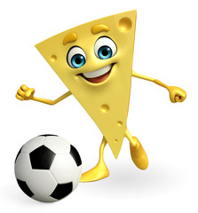 Cheese Character is playing football