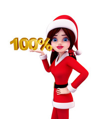 Santa Girl Character with 100 percentage sign