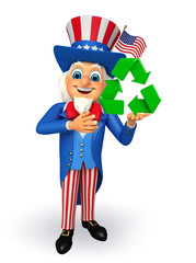 Uncle Sam with  recycle sign
