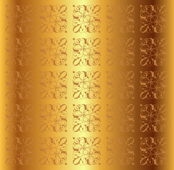 Golden Metal Floral Background Vector