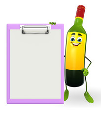 Wine Bottle Character with notepad