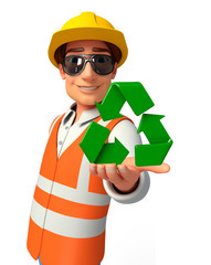 Young worker with recycle sign