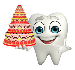 Teeth character with cake