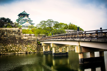 Osaka castle in the cloudy day, Japan