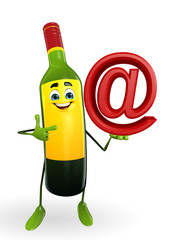 Wine Bottle Character with at the rate sign