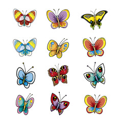 Many Different Butterflies Isolated Vector Collection