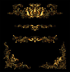 Retro Gold Floral Elements for Design and Decorate