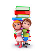 canvas print picture - Cute kids with books