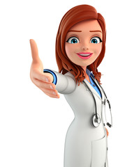 Young Doctor with shake hand pose