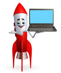 Rocket character with laptop