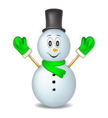 Smiling snowman wearing mittens, hat and scarf