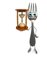 Fork character with sand clock