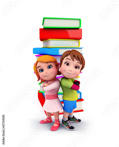 canvas print picture Cute kids with books