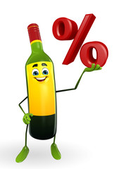 Wine Bottle Character with Percentage sign