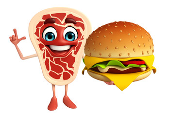 Meat steak character with burger