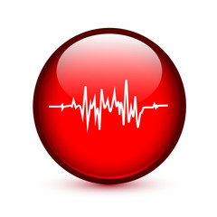 Red glossy heart rate button sign