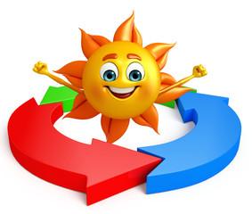 Sun Character With Circular arrow