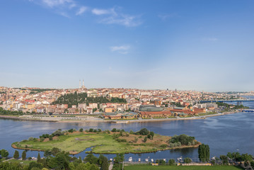 Panoramic view of Golden Horn inlet, Istanbul, Turkey.